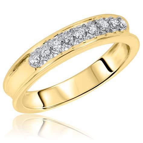 1 4 ct t w s wedding band 14k yellow gold