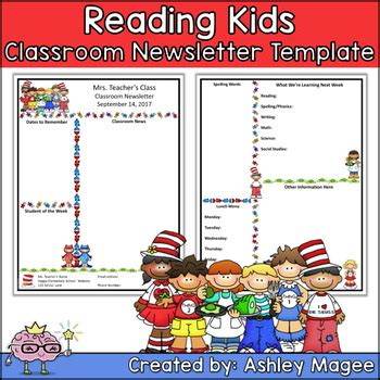 Teacher Newsletter Template With A Reading Kids Theme By Mrs Magee Children S Newsletter Template