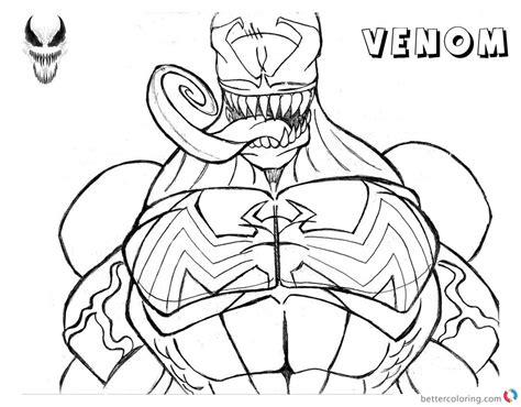 venom coloring pages venom coloring pages lineart half free printable