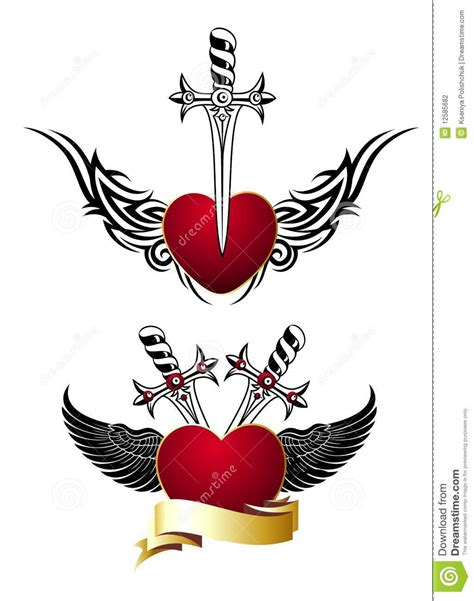 set of loving hearts with wings and swords tattoo stock