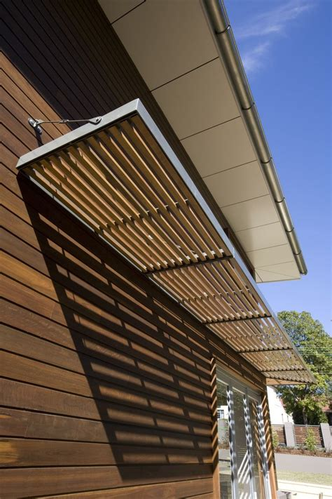 awning metal frame  wooden slats house awnings