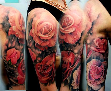 rose tattoos half sleeve cliserpudo black and sleeve images
