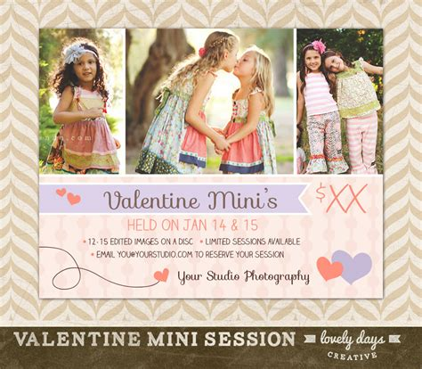 Valentine S Day Mini Session Template Flyer By Lovelydayscreative Mini Flyer Template