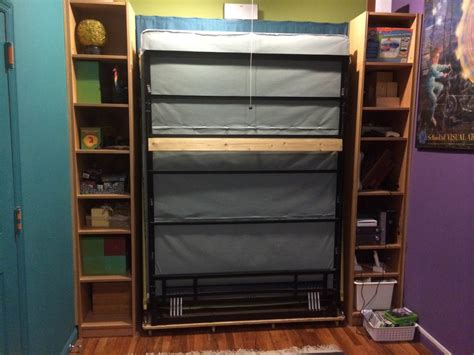 ikea hack bed bridge bookcase billy bookcases transform into murphy bed ikea hackers