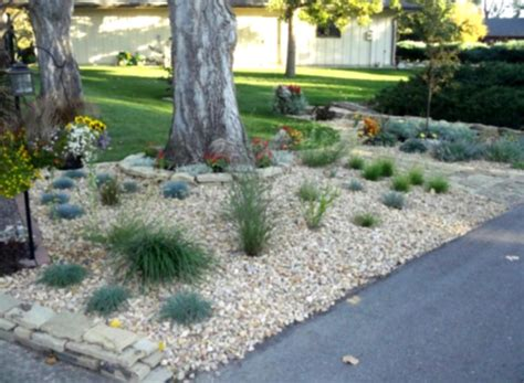 rock garden front yard river rock landscaping ideas home decorating and tips