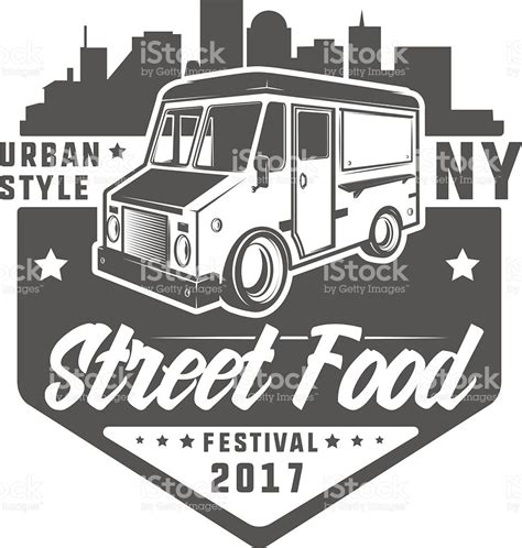 street logos street graphics set of colour street food truck t shirt logo stock vector art more images of business