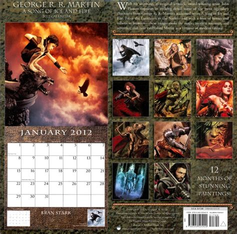 song of ice and fire 2012 calendar andre file calendar 2012 cover jpg a wiki of ice and fire