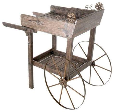 Wooden Garden Cart by Wooden Rolling Garden Potting Cart Traditional Outdoor