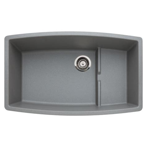 grey kitchen sink shop blanco performa 19 5 in x 32 in metallic gray single basin granite undermount residential