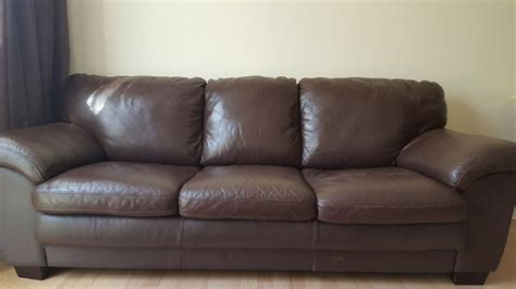 3 seater 2 seater brown leather sofa for sale used