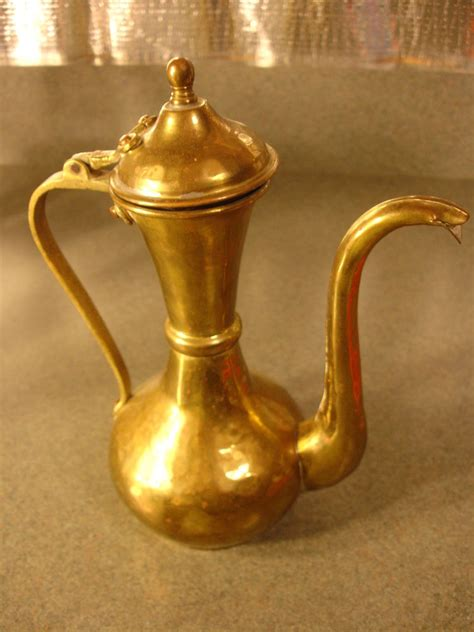 old vtg antique collectible brass pitcher with lid ebay