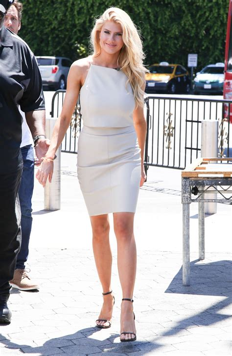 charlotte mckinney on the set of extra in universal city gallery leather celebrities