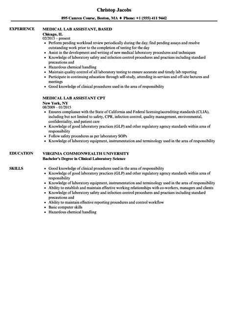 lab assistant resume sles velvet