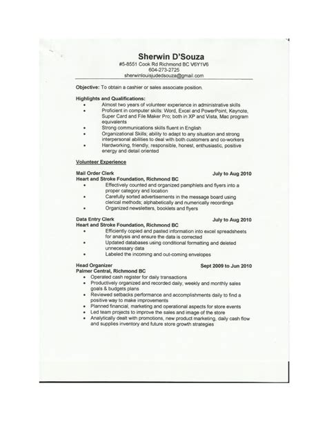 Sle Resume For Sales Cashier sle of cashier resume 28 images best sales cashier