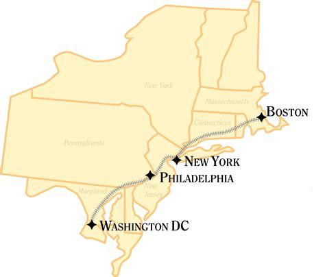 map usa new york boston boston new york washington dc rail tour just america