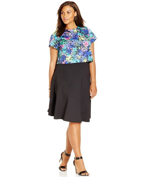 spense plus size printed crop top skirt match set in