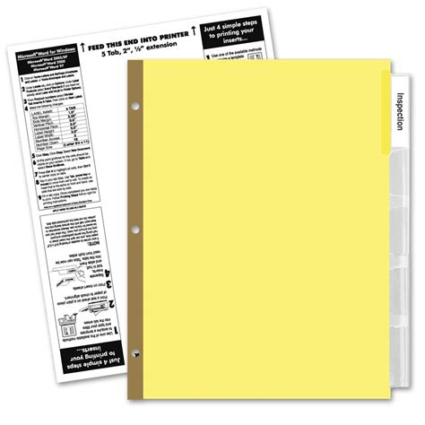 Avery 5 Tab Label Template by Avery 5 Tab Clear Label Dividers Template
