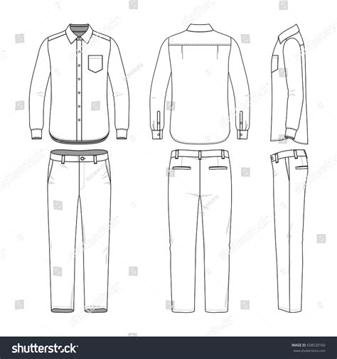 blank clothing templates front back side views mens shirt stock vector 658530160