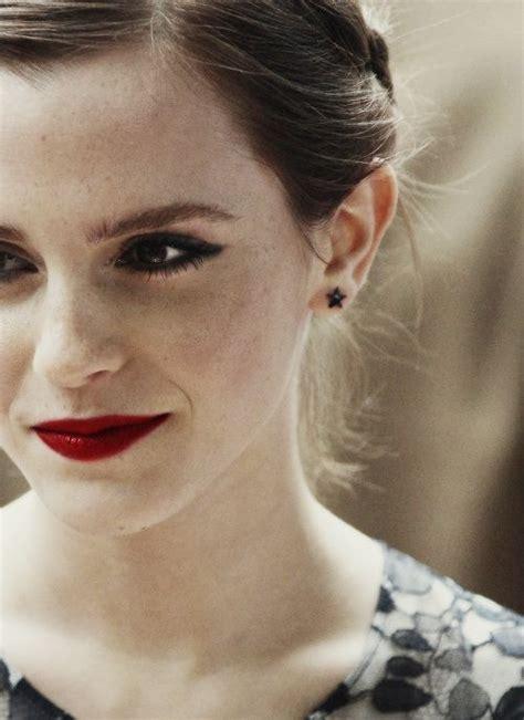 emma watson lipstick deep red lipstick dark eye makeup hair beauty