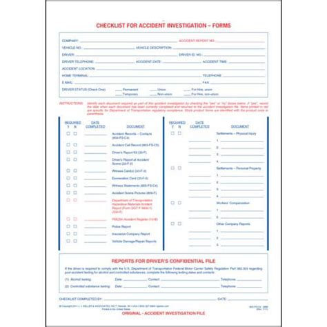 checklist for accident investigation forms