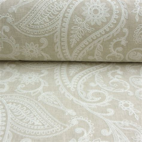 cream paisley curtains a detailed embroidered paisley on cream background