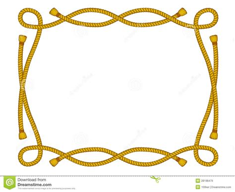 nudo vaquero cuerda rope frame isolated on white royalty free stock images