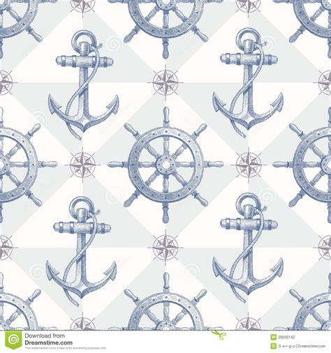 Wallpaper Nautical Theme - seamless nautical background with hand drawn eleme stock photography image 26030142