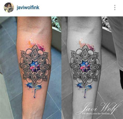 watercolor tattoo ink javi wolf watercolor mandala ink