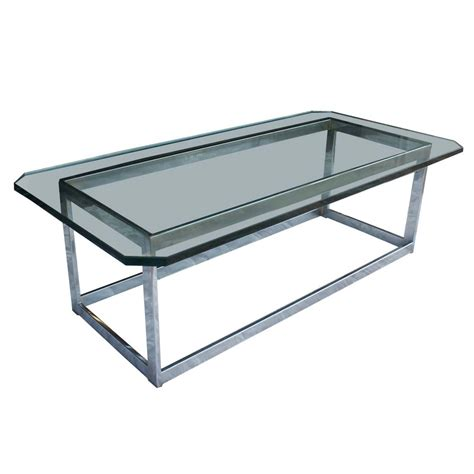 Glass And Chrome Coffee Table Midcentury Retro Style Modern Architectural Vintage Furniture From Metroretro And Mcm Consignment