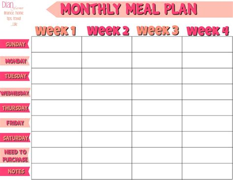 free printable weekly diet calendar free monthly meal planner