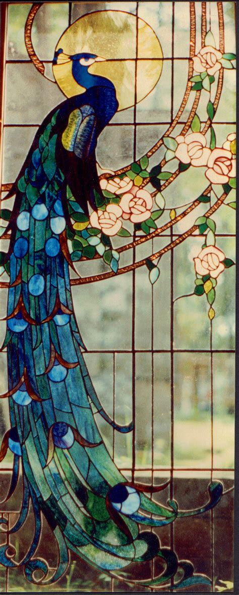 peacock stained glass l peacock stained glass patterns group picture image by