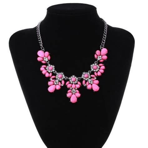 buy rhinestone flower drop statement necklace metal chain