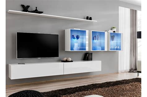 banc tv suspendu meuble tv mural design 224 led bleu trendymobilier