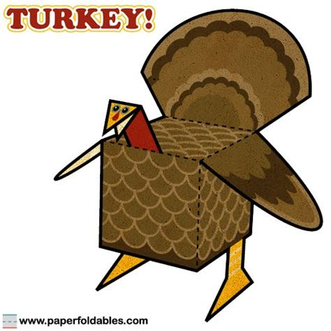 Turkey Papercraft - cubeelog 187 thanksgiving paper foldable