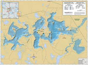 lake maps minocqua kawaguesaga lakes wall map
