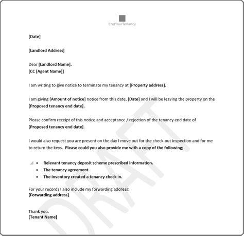 tenants notice tenancy template letter uk