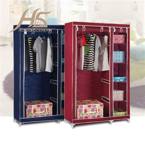 Clothes Wardrobe Storage Hanging by House Scenery Bedroom Simple Steel Frame Folding Cabinet