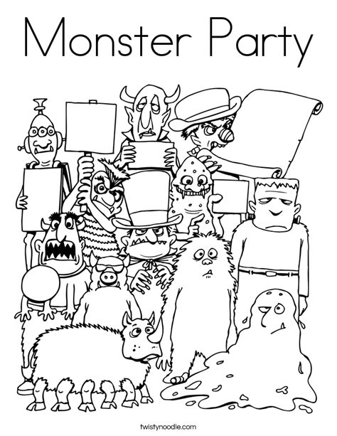 monster birthday coloring page monster party coloring page twisty noodle