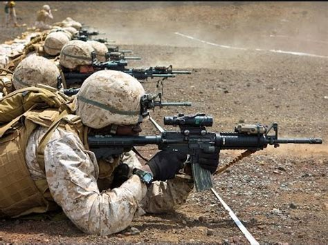 us marines shooting with the m4 carbine assault rifle in