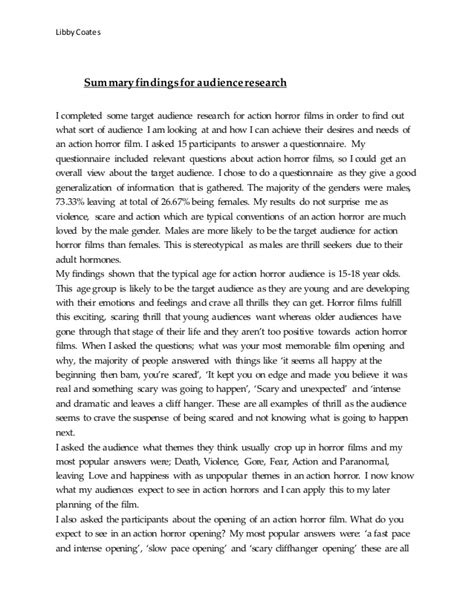 Research Paper Summary Of Findings by Summary Findings For Audience Research
