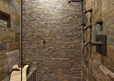 rustic tile bathroom northwest stone mosiac shower bathroom