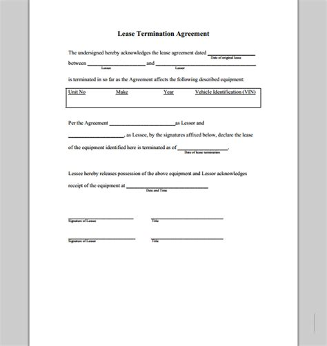 Termination Of Residential Lease Agreement Letter Lease Termination Agreement Form Sle Forms