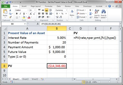 excel tutorial npv pv function get the present value in excel teachexcel com