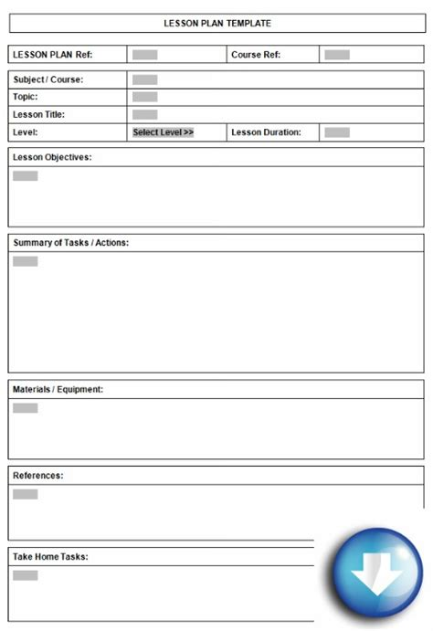lesson planner template free downloadable lesson plan format using microsoft word