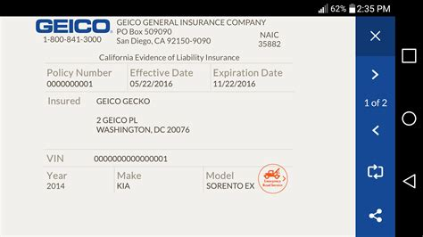 geico car insurance card template geico mobile android apps on play