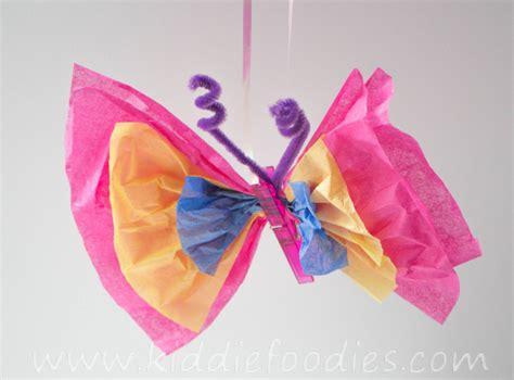 Craft Paper Butterflies - how to organize a butterfly birthday kiddie foodies