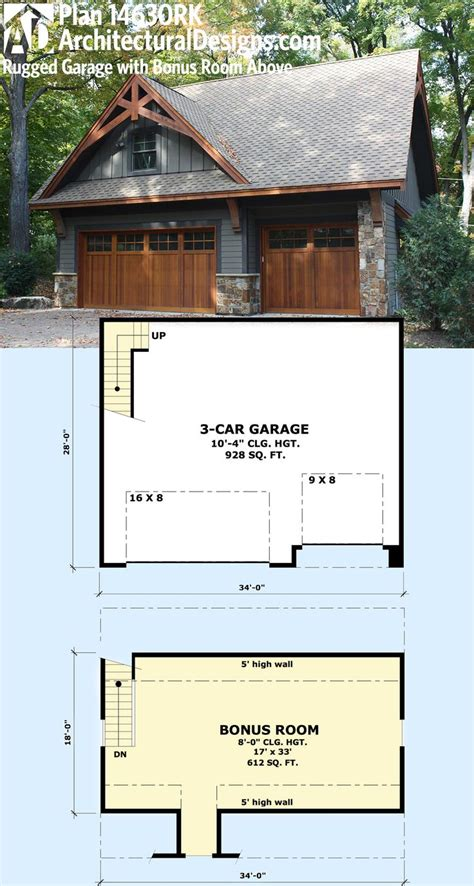 idea plans plan 14630rk rugged garage with bonus room above house