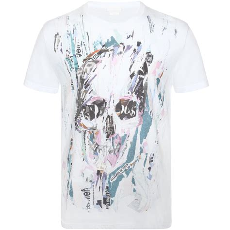 T Shirt Skull Print lyst mcqueen graphic skull print t shirt in white for