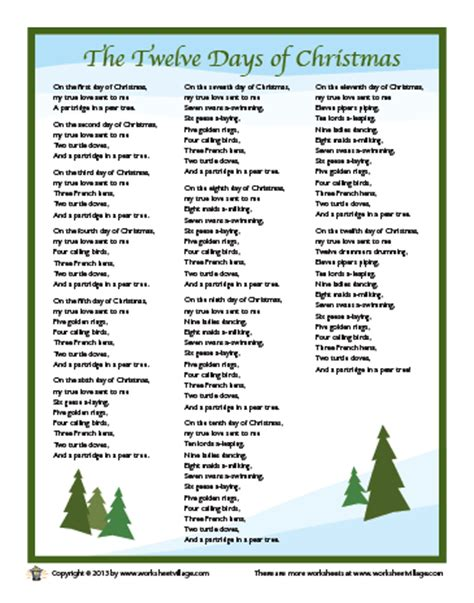 printable lyrics to 12 days of christmas twelvedaysofchristmaslyrics search results calendar 2015