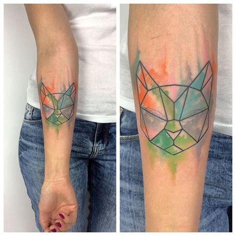 watercolor tattoos nz geometric blind cat tattooart tattooed